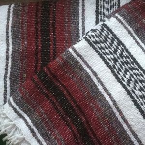 AUTHENTIC HANDMADE BAJA BLANKET — burgundy